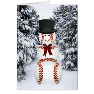 Baseball Snowman Greeting Card