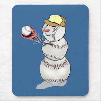Baseball Snowman Mouse Pad