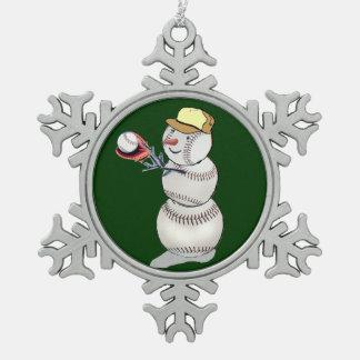 Baseball Snowman Ornament