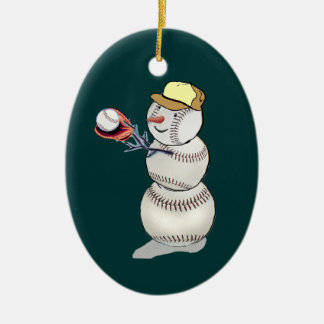 Baseball Snowman Christmas Ornament