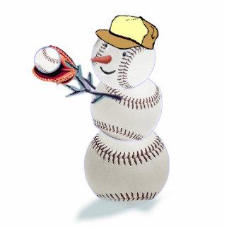 baseball snowman photo sculptures