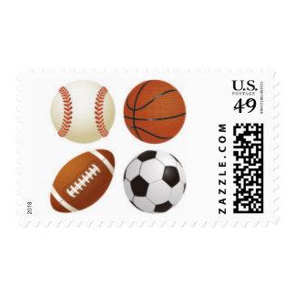 Baseball, Soccer, Basketball and Football Stamps