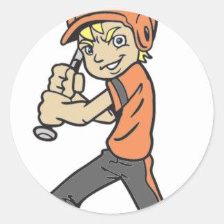 BASEBALL / SOFTBALL BOY BATTING CLASSIC ROUND STICKER