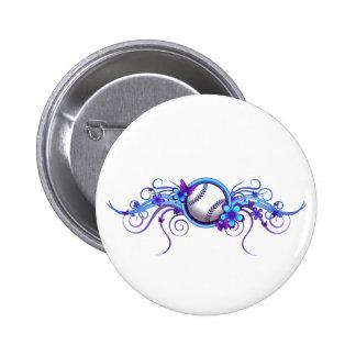 Baseball / Softball Butterfly Flower Blue Button