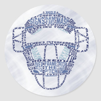 Baseball Softball Catchers Mask Calligram Classic Round Sticker