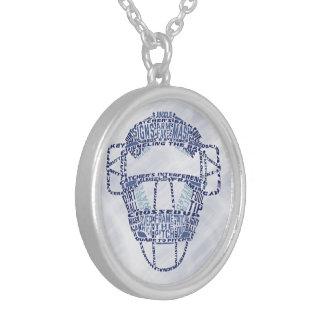 Baseball Softball Catchers Mask Calligram Silver Plated Necklace