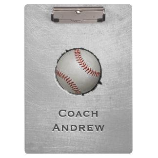 Baseball Softball Coach Custom Name Grunge Texture Clipboard