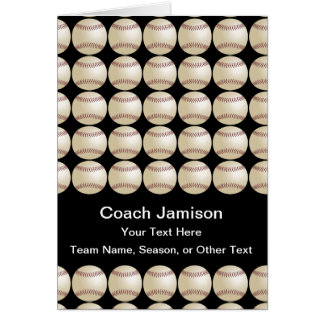 Baseball/Softball for Coach, Blank Inside, Black Card
