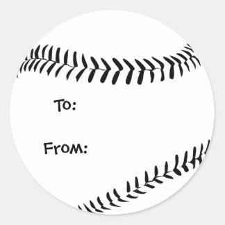 Baseball / Softball Gift Tags Classic Round Sticker
