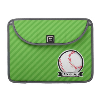 Baseball, Softball; Green Stripes MacBook Pro Sleeve