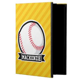 Baseball, softball on Yellow Stripes Cover For iPad Air