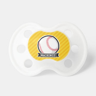 Baseball, softball on Yellow Stripes BooginHead Pacifier