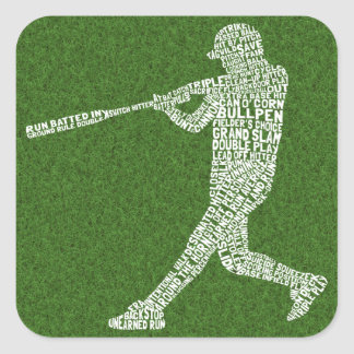 Baseball Softball Player Typographic Square Sticker