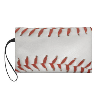 Baseball Softball Print Pattern Background Wristlet Purse