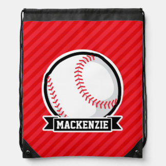 Baseball, Softball; Red Diagonal Stripes Drawstring Backpack