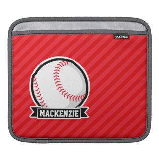 Baseball, Softball; Red Diagonal Stripes iPad Sleeve