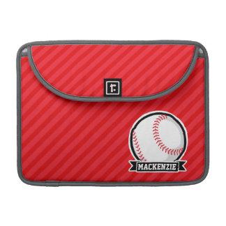 Baseball, Softball; Red Diagonal Stripes Sleeve For MacBook Pro