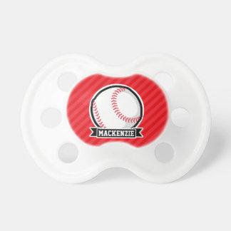 Baseball, Softball; Red Diagonal Stripes BooginHead Pacifier