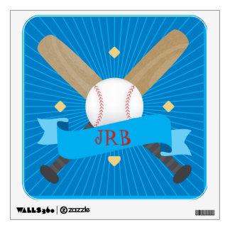 Baseball Softball Sports Bases Bat Ball Blue Boy Wall Decal