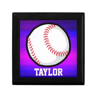 Baseball, Softball Vibrant Violet Blue and Magenta Trinket Boxes