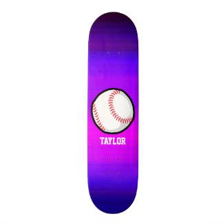 Baseball, Softball Vibrant Violet Blue and Magenta Skateboard Deck