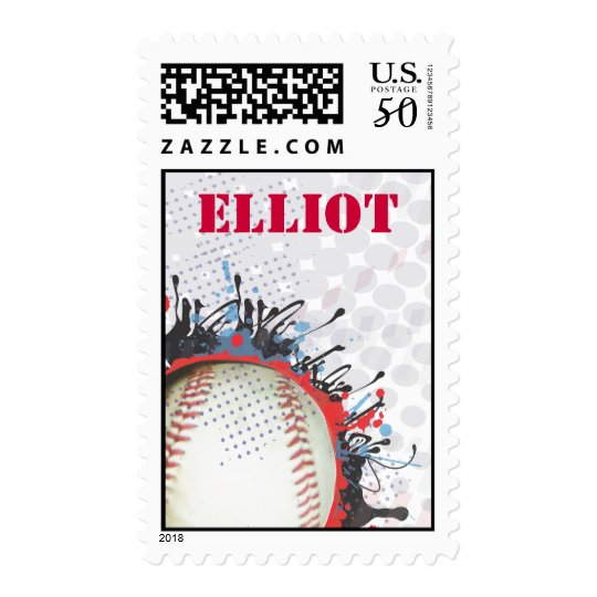 Baseball Splatter Invitation Postage Stamp