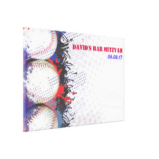 BASEBALL Splatter Sign-In Memory Board Canvas Print