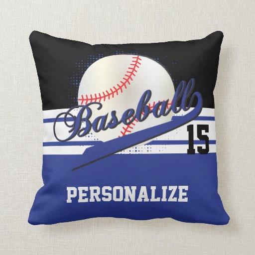 Diy Quote Throw Pillow : Baseball Sport DIY Name & Number Dark Blue Throw Pillow Zazzle