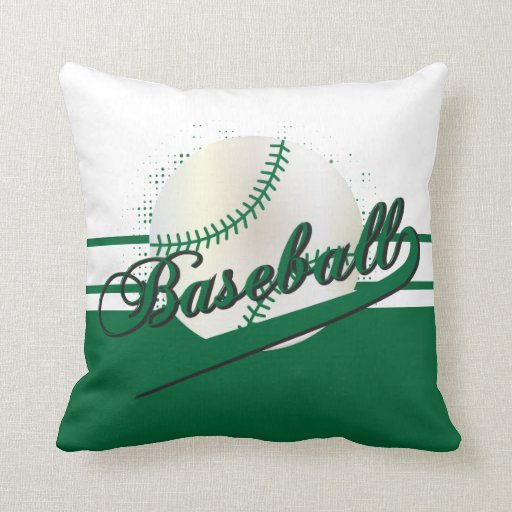 Throw Pillows With Numbers On Them : Baseball Sport DIY Name & Number Dark Green Throw Pillow Zazzle