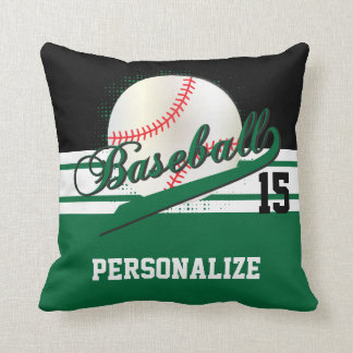 Baseball Sport | DIY Name & Number | Dark Green Throw Pillow