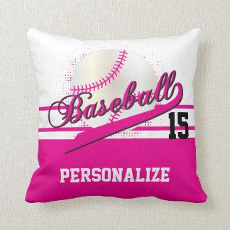 Baseball Sport   DIY Name & Number   Hot Pink Throw Pillow
