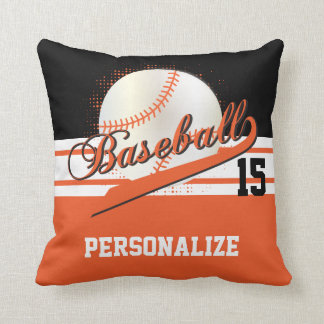 Baseball Sport | DIY Name & Number | Orange Throw Pillow