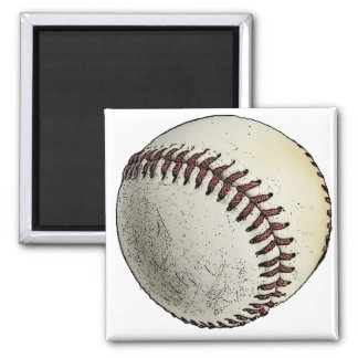 Baseball Sport Drawing Sketch 2 Inch Square Magnet