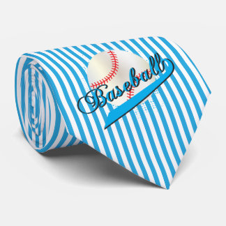 Baseball Sport in Baby Blue and White Stripes Tie