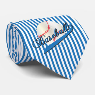 Baseball Sport in Blue and White Stripes Tie