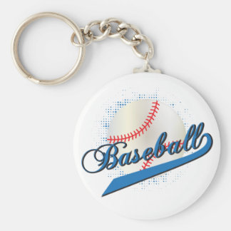 Baseball Sport in Blue Keychain