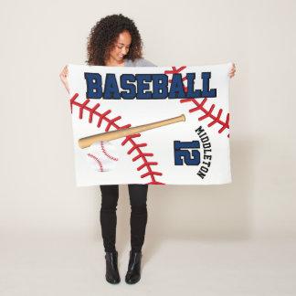 Baseball Sport in Dark Blue Fleece Blanket