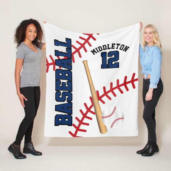 Baseball Sport in Dark Blue Fleece Blanket