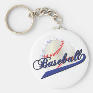 Baseball Sport in Dark Blue Keychain