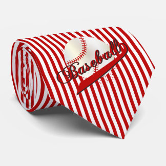 Baseball Sport in Dark Red and White Stripes Neck Tie