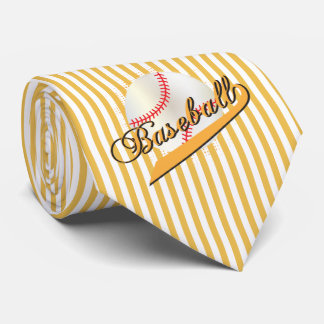 Baseball Sport in Gold and White Stripes Neck Tie