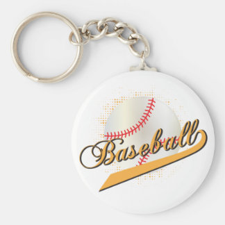 Baseball Sport in Gold Keychain