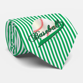 Baseball Sport in Green and White Stripes Neck Tie