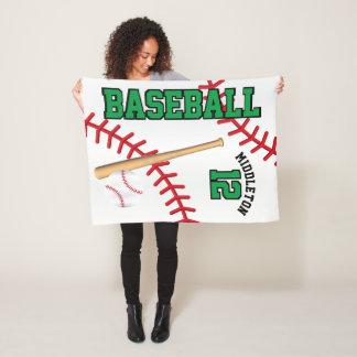 Baseball Sport in Green Fleece Blanket