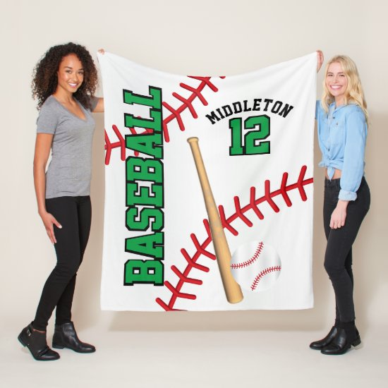 Baseball Sport in Green Fleece Blanket