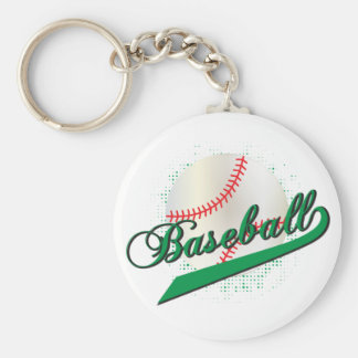 Baseball Sport in Green Keychain