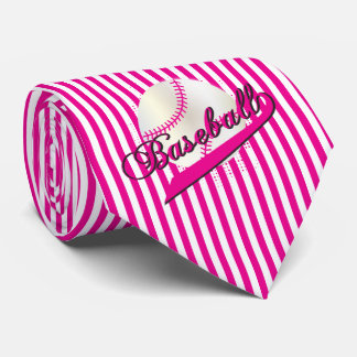 Baseball Sport in Hot Pink and White Stripes Neck Tie