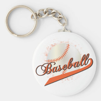 Baseball Sport in Orange Keychain