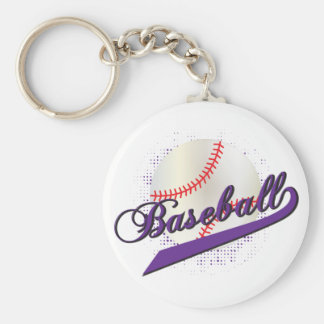 Baseball Sport in Purple Keychain