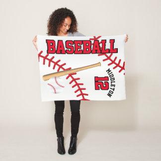 Baseball Sport in Red Fleece Blanket
